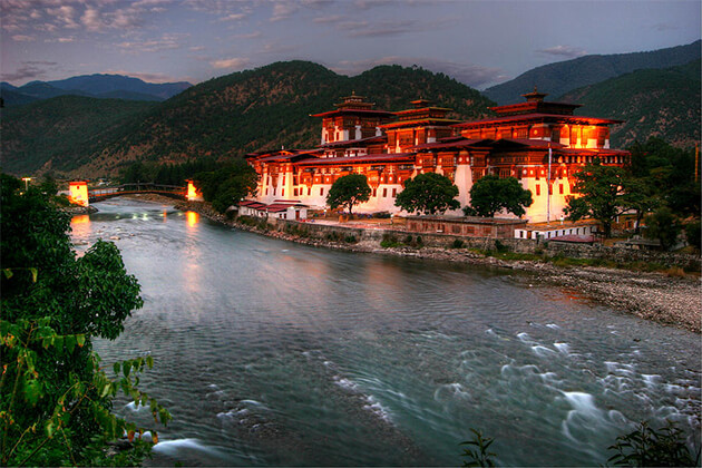 Indian enjoy stunning Punakha Dzong in Bhutan holiday tour