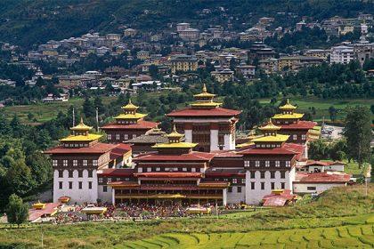 panoramic view of Tashichho Dzong Bhutan